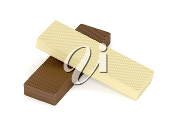 White and brown chocolate wafers on white background