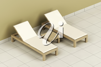 Wooden sun loungers and table in the spa center