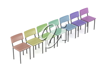 Row with colorful chairs on white background