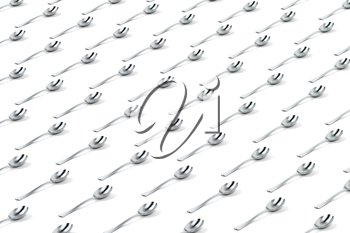 Abstract background with rows of silver spoons