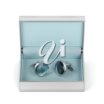 Box with silver cufflinks on white background, front view