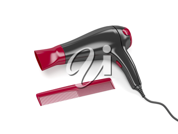 Hair dryer and comb on white background