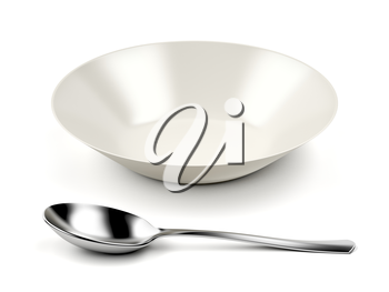 Empty bowl and silver spoon on white background