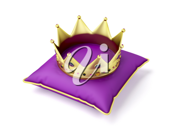 Royal gold crown on purple pillow on white background