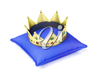 Gold crown on blue pillow