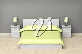 Modern designed bedroom with gray and green colors