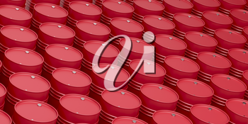 Many rows with red oil drums