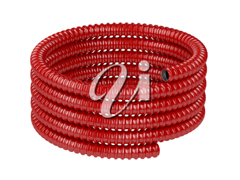 Roll of red corrugated pipe, isolated on white background