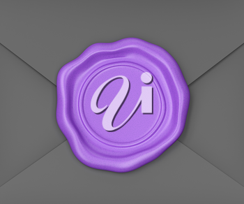 Black envelope sealed with purple colored wax