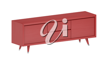 Isometric red tv stand, isolated on white background