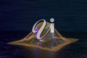 Transparent bubble in the golden grid, 3d rendering. Computer digital drawing.