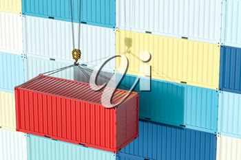Container and weight,logistics and transmission,3d rendering. Computer digital drawing.