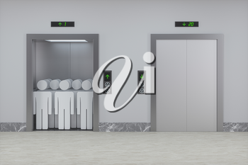 The elevator in the corridor, 3d rendering. Computer digital drawing.