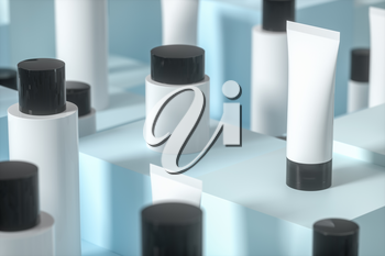 Blank cosmetic bottle with cubic background, 3d rendering. Computer digital drawing.