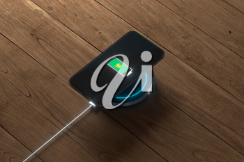 The charging mobile phone with wireless charger, 3d rendering. Computer digital drawing.
