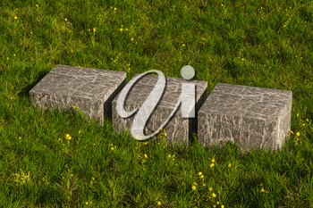 Empty platform in the grass field, 3d rendering. Computer digital drawing.