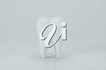 White tooth with white background, 3d rendering. Computer digital drawing.