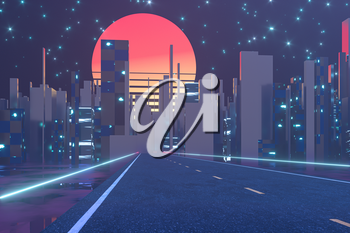 Urban road and sunset sky,abstract conception,3d rendering. Computer digital drawing.