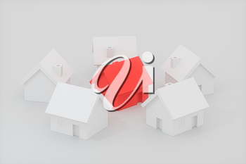 A small red house model surrounded by the white houses, 3d rendering. Computer digital drawing.