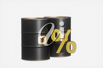 Oil barrel and percentage with white background,3d rendering. Computer digital drawing.