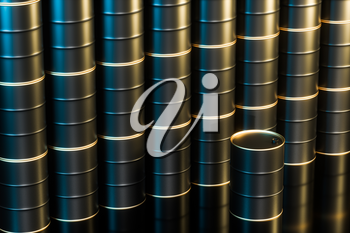 Black polished oil barrels lining up in the warehouse,3d rendering. Computer digital drawing.