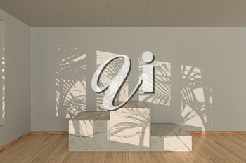 Empty room and marble still life,wooden floor,3d rendering. Computer digital drawing.