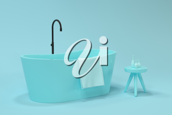 Cartoon bathtub with blue background, 3d rendering. Computer digital drawing.