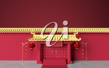 Chinese palace walls, red walls and golden tiles, 3d rendering. Translation: 'blessing'. Computer digital drawing.