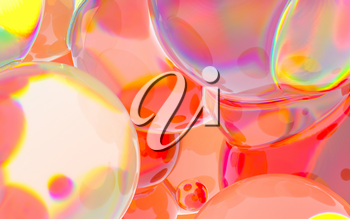 Glass balls with vivid colors, 3d rendering. Computer digital drawing.