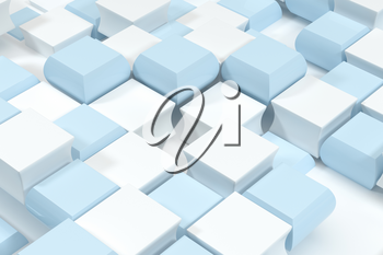 Creative blue and white cubes background, 3d rendering. Computer digital drawing.