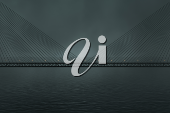 The suspension bridge over the lake at night, 3d rendering. Computer digital drawing.