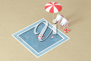 Cartoon tooth on holiday, swimming pool aside, 3d rendering. Computer digital drawing.