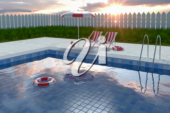 A swimming pool on a sunny day, 3d rendering. Computer digital drawing.