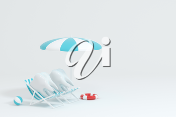 Cartoon tooth on holiday, tooth care concept, 3d rendering. Computer digital drawing.