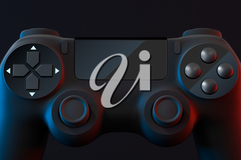 Classic game pad with dark background, 3d rendering. Computer digital drawing.