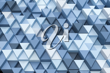 Repeating triangle cubes background, 3d rendering. Computer digital drawing.
