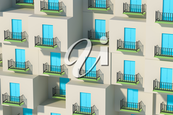 Balcony structure outside the building, 3d rendering. Computer digital drawing.