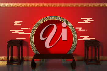 Chinese style red background, festival decoration, 3d rendering. Computer digital drawing.