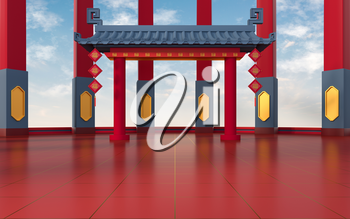 Chinese gate with pillars, translating: 'blessing', 3d rendering. Computer digital drawing.