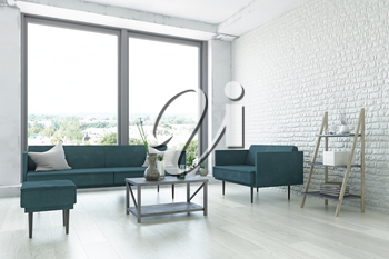 White Contemporary Interior Art Room, Elegant Sofa, Armchair, Pouf, Wooden Shelf, Table and Green Plants near the Brick Wall, Amazing Decor, Fashion Conceptual Art Style, 3D Rendering Graphic Design