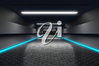 Futuristic Corridor with Neon Fluorescence Lights, Metal Anti-Slip Floor, 3D Rendering Futuristic Interior, Technology Abstract Sci-Fi Design, Conceptual Cosmic Tomorrow Aesthetic Style.