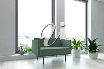 Interior Room with White Old Plaster Wall, Simple Armchair, Large Panoramic Window, Green Plants in the Pots, Modern Room Decor, Fashion Style, 3D Rendering Illustration, Contemporary Graphic Design