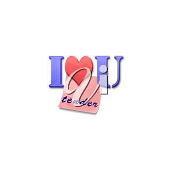 Royalty Free Clipart Image of Magnetic Letters Spelling I Love You