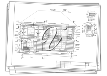 Royalty Free Clipart Image of a Blueprint for a Private Dwelling