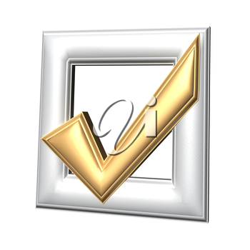 Gold glossy Check mark on white background