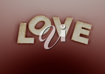 Dimensional inscription of LOVE on background. 3D illustration.