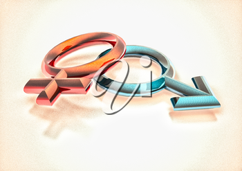 Dimensional man's and female signs on a white background. 3D illustration.