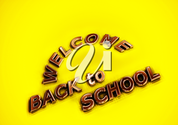 Dimensional inscription Welcome back to school. 3D illustration.
