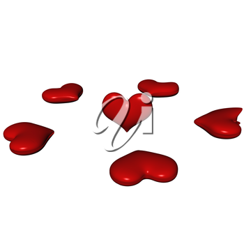 Royalty Free Clipart Image of Red Hearts