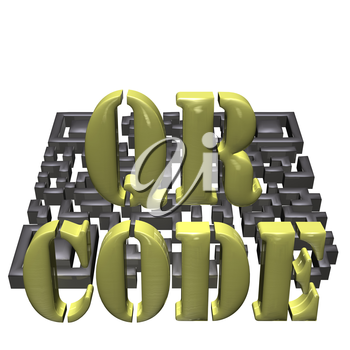Abstract example of a three-dimensional QR code as a background